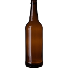 22 oz. (651 ml) Amber Glass Bomber Beer Bottle, Crown Pry-Off, 26-611, 12/cs