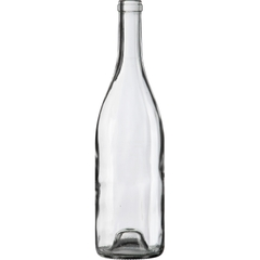 750 ml Clear Burgundy Wine Bottles, Punted, Cork 12/cs