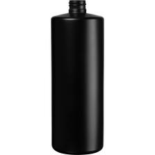 32 oz. Black HDPE Plastic Cylinder Bottle, 28mm 28-410, 58 Grams