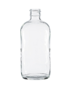 8 oz. Clear Boston Round Glass Bottle, 24mm 24-400