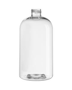 16 oz. Clear PET Plastic Boston Squat Round Bottle, 24mm 24-410