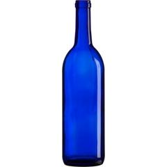 750 ml Cobalt Blue Bordeaux Wine Bottles, Cork, 12/cs