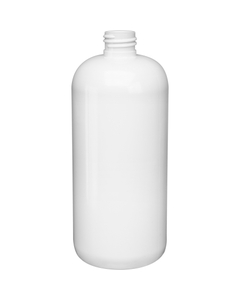 16 oz. White PET Plastic Boston Round  Bottle, 24mm 24-410