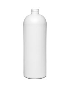 32 oz. White HDPE Plastic Bullet Bottle, 28mm 28-410