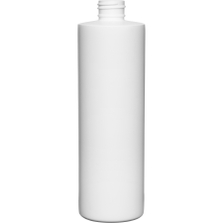 12 oz. White HDPE Plastic Cylinder Bottle, 24mm 24-410