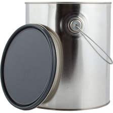 1 Gallon Metal Paint Can w/Ears, Bail and Lid, Gray Epoxy Phenolic Lined, 454 Grams