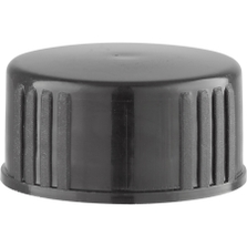 22mm 22-400 Black Polypropylene Cap with Poly Cone Insert