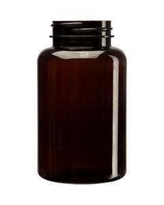 8 oz. (250 cc) Amber PET Plastic Packer Bottle, 45mm 45-400