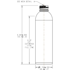 6 oz. Clear PET Plastic Bullet Round Bottle, 24mm 24-410