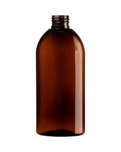 8 oz. Amber PET Plastic Capri Oval Bottle, 24mm 24-410