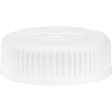 38mm 38-400 White Child Resistant Cap (Pictorial) w/HIS TE Liner for HDPE, 2-Piece, Tamper Indicating