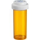 8 Dram Amber Plastic Vial w/Reversible Cap, 410/cs