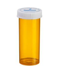8 Dram Amber Plastic Vial w/Child Resistant Cap, 410/cs
