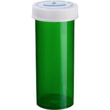 8 Dram Green Plastic Vial w/Child Resistant Cap, 410/cs