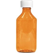 8 oz. Amber Plastic Oval Bottle