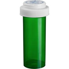 16 Dram Green Plastic Vial w/Reversible Cap, 240/cs