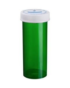 16 Dram Green Plastic Vial w/Child Resistant Cap, 270/cs