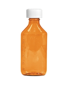 16 oz. Amber Plastic Oval Bottle
