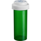 20 Dram Green Plastic Vial w/Reversible Cap, 270/cs