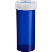 20 Dram Blue Plastic Vial w/Child Resistant Cap, 360/cs