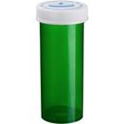 20 Dram Green Plastic Vial w/Child Resistant Cap, 360/cs