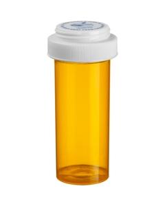 30 Dram Amber Plastic Vial w/Reversible Cap, 195/cs