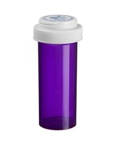 30 Dram Violet Plastic Vial w/Reversible Cap, 195/cs