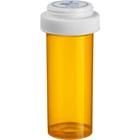 40 Dram Amber Plastic Vial w/Reversible Cap, 130/cs