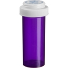 40 Dram Violet Plastic Vial w/Reversible Cap, 130/cs