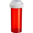 40 Dram Red Plastic Vial w/Reversible Cap, 130/cs