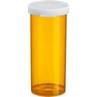 40 Dram Amber Plastic Vial w/Snap Cap, 190/cs