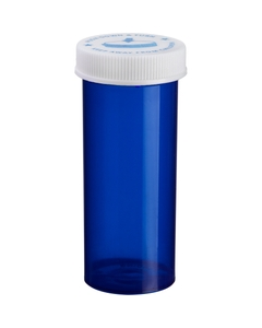 40 Dram Blue Plastic Vial w/Child Resistant Cap, 180/cs