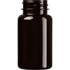 2.5 oz. (75 cc) Dark Amber PET Plastic Packer Bottle, 33mm 33-400