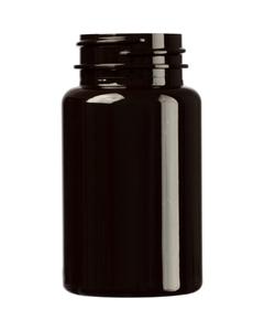 3.5 oz. (100 cc) Dark Amber PET Plastic Packer Bottle, 38mm 38-400