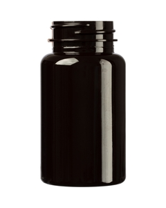 4 oz. (120 cc) Dark Amber PET Plastic Packer Bottle, 38mm 38-400