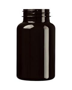 7.5 oz. (225 cc) Dark Amber PET Plastic Packer Bottle, 45mm 45-400
