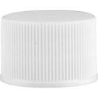20mm 20-410 White Ribbed (Matte Top) Plastic Cap w/HIS Liner for PET/PVC