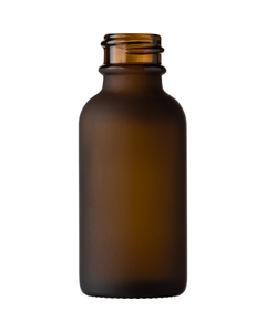1 oz. Amber Frosted Boston Round Glass Bottle, 20mm 20-400
