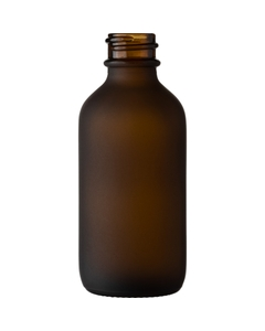 2 oz. Frosted Amber Boston Round Glass Bottle, 20mm 20-400