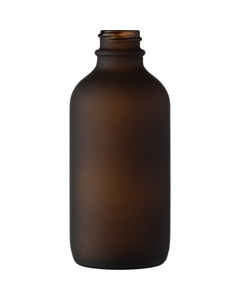 4 oz. Frosted Amber Boston Round Glass Bottle, 22mm 22-400