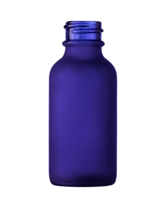 1 oz. Cobalt Blue Frosted Boston Round Glass Bottle, 20mm 20-400