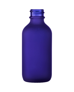 2 oz. Frosted Cobalt Blue Boston Round Glass Bottle, 20mm 20-400