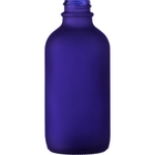 4 oz. Cobalt Blue Frosted Boston Round Glass Bottle, 22mm 22-400