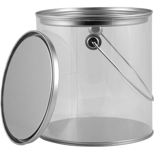 1 Gallon Art Style Clear Plastic Paint Can W Ears Bail Amp Lid