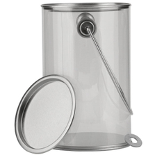 1 Quart Tall Art-Style Clear Plastic Paint Can with Ears, Bail and Lid