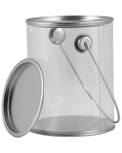 1 Quart Short Art-Style Clear Plastic Paint Can with Ears, Bail and Lid