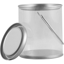 Mini Clear Plastic Can with Ears, Bail and Lid