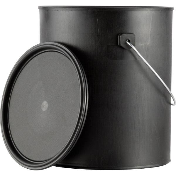 1 gallon black plastic paint can w ears bail lid