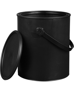 1 Gallon Black Plastic Paint Can with Ears, Plastic Bail and Lid