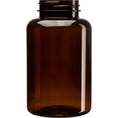 10 oz. (300 cc) Amber PET Plastic Packer Bottle, 45mm 45-400